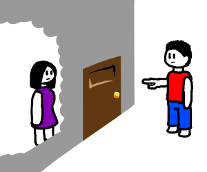 man pointing at a door with a woman behind