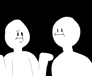 Guy shrugging to another guy