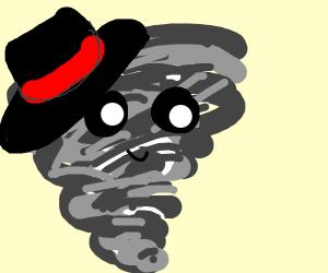 Tornado wearing a hat