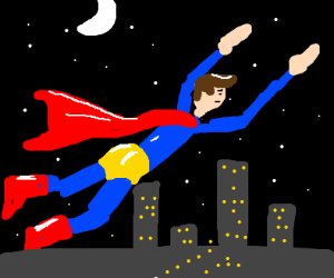 Superman flying in the night