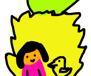 dora and a duck in a pineapple