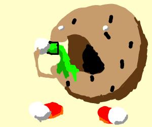 cookie drinking green juice