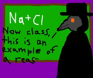 chemistry being taught by a plague doctor