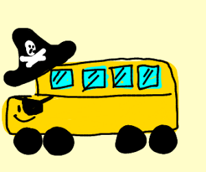 yellow pirate bus with face and eyepatch
