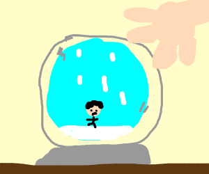 a child in a snowglobe