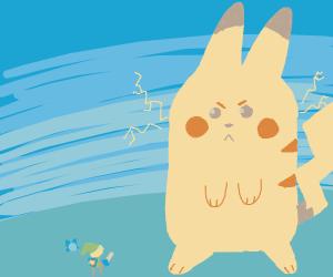 Link vs. giant Pikachu