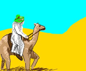 arabian man riding camel in desert
