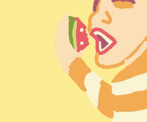 prisoner eats watermelon