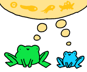 Two frogs thinking about life