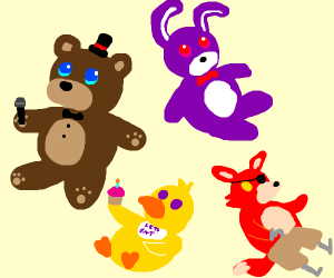 Creepy animals from diner video game but cute