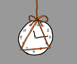 A clock tied with orange string
