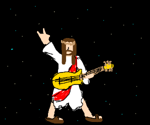 jesus rocking out in space