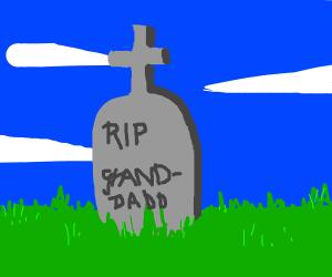 misspelled gravestone for granddad