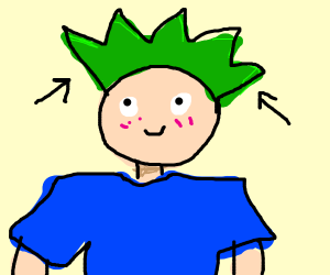 Person with green hair
