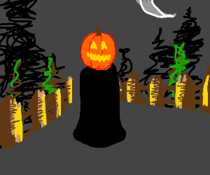 Jack-O-Lantern person with stick