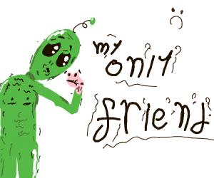 Sad alien has a puppet but no friends