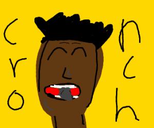 Guy eats rock
