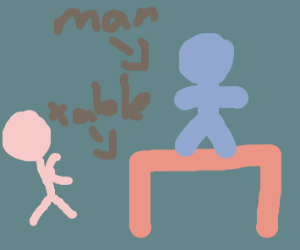 Man steps on the table at dinner