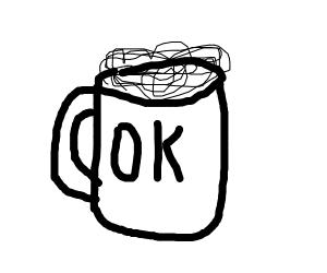 A beer mug that says 'OK!'