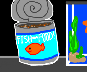 Fish food in a can