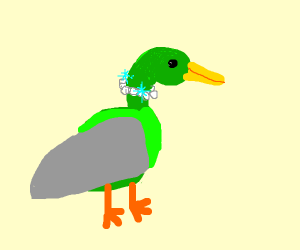 Green Duck wearing a Pearl Necklace
