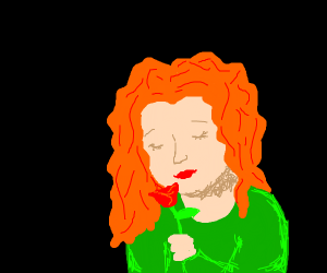 A orange haired lady holding a rose