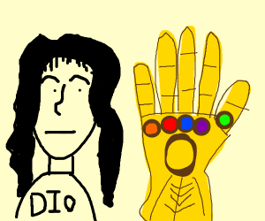 DIO looks at the infinity gauntlet