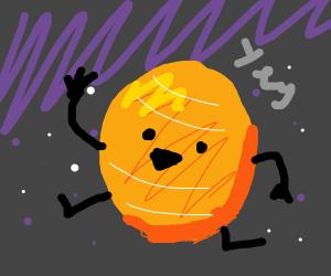 Jupiter flying in space