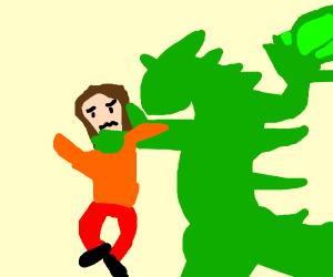 dragon strangling a woman