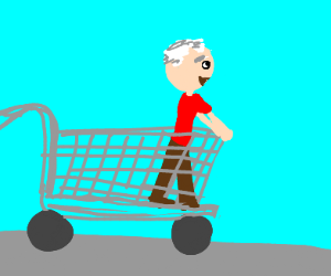 Elderly gent riding in a shopping cart