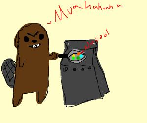 evil beaver torturing circles in frying pan