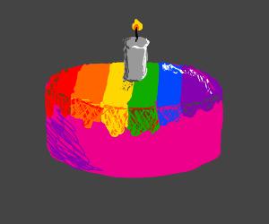 happy birthday pink raindbow gay cake