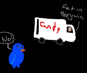 Kidnapper puts discolored penguin into van