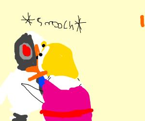 A chicken kissing a robot chicken