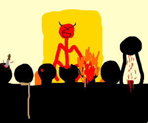 7 people in front of Satan on a throne
