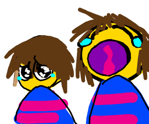 Frisk from undertale is crying