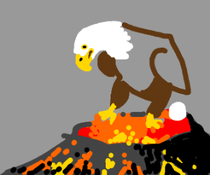 Eagle lays an egg ontop of a volcano