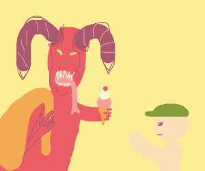 Krampus gives ice cream to boy