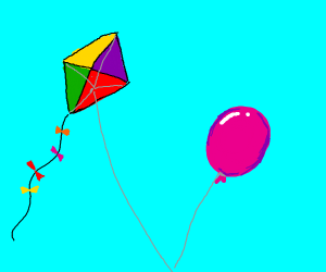 A balloon and a kite