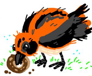 cute bird eating donut