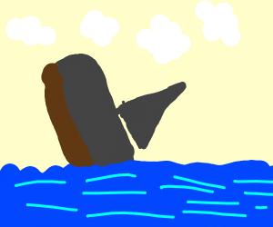 A Sailboat digging into a River