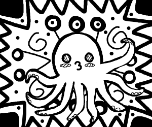 Cute octopus on abstract background