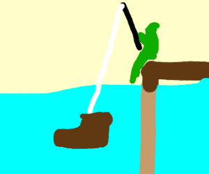 A troll fishing with a boot as bait