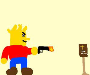 Bart Simpson shoots the Bible, Ay Caramba!