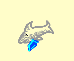 baby shark with a blue sword