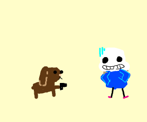 Dog points gun at skeleton in blue coat.