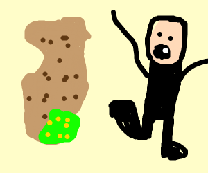 a guy getting chased by a potato