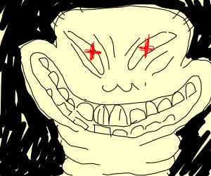 Creepy man has a very big smile