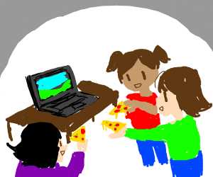 Children giving pizza to a laptop