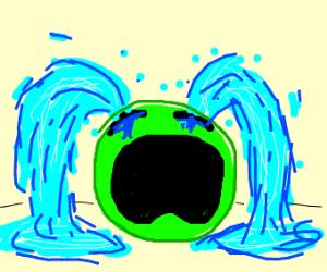 green pea who is sad